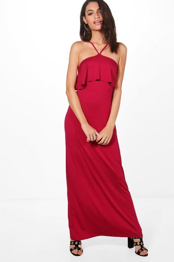 High Neck Strappy Ruffle Maxi Dress