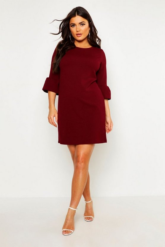 Womens Merlot Ruffle Sleeve Shift Dress