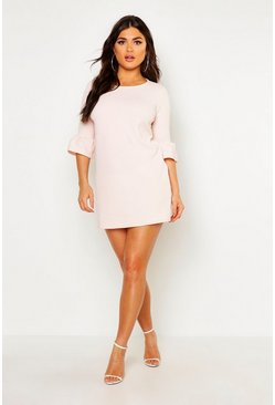 Womens Nude Ruffle Sleeve Shift Dress