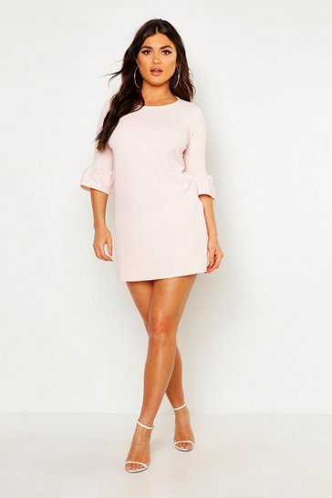 Nude Ruffle Sleeve Shift Dress