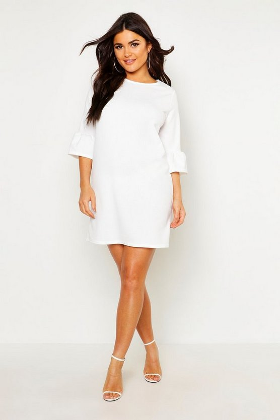 Womens White Ruffle Sleeve Shift Dress