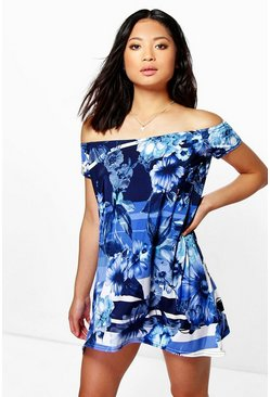 Womens Blue Petite Tyra Floral Off Shoulder Swing Dress