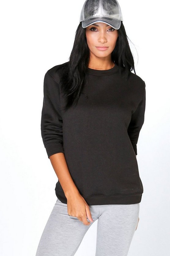 Womens Black Sophia Basic Oversized Sweatshirt