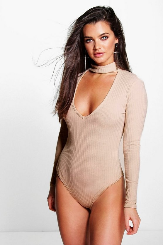 Cut Out Choker Neck Rib Knit Bodysuit