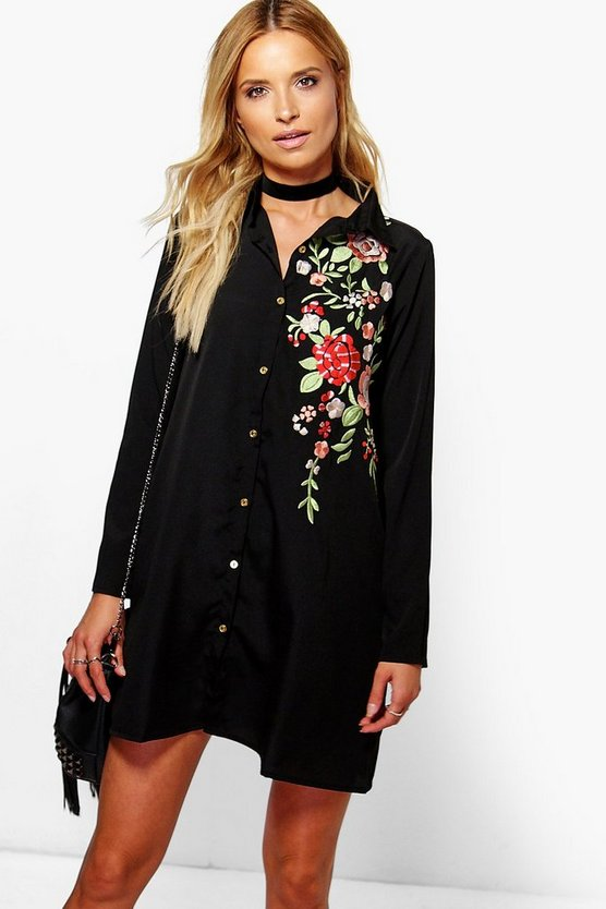 Embroidered Boxy Shirt Dress