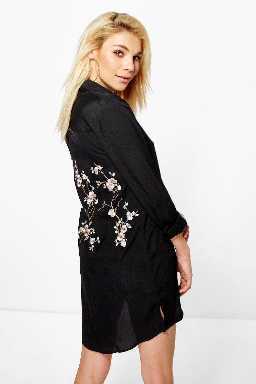54f71cf751f Embroidered Back Shirt Dress
