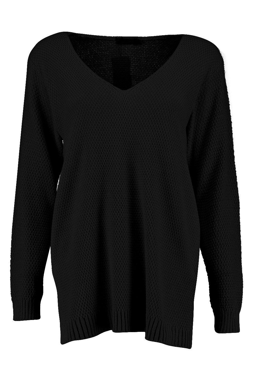estilo con cuello Jersey negro aberturas pico y laterales túnica de TSgxdw