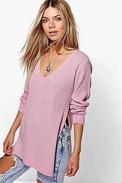 V Neck Side Split Tunic Sweater