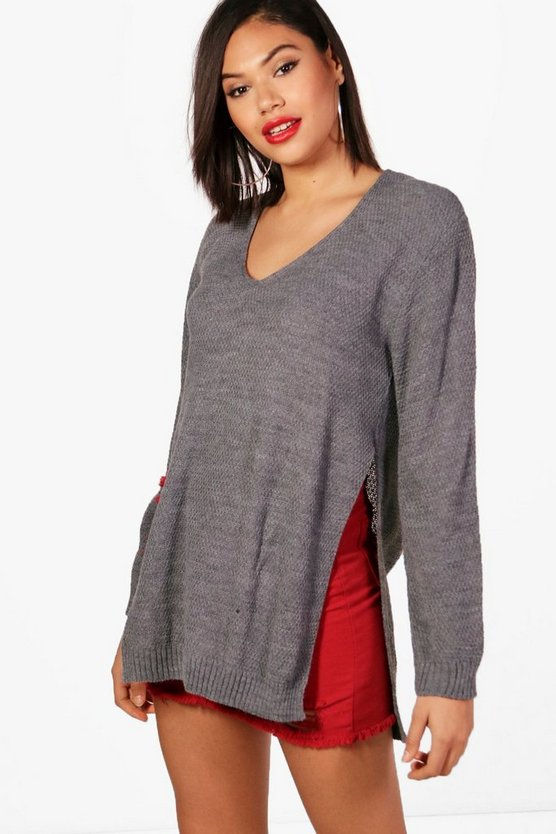 Womens Grey V Neck Side Split Tunic Jumper