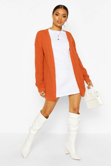 Toffee Edge To Edge Waffle Knit Cardigan