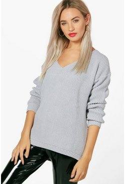 Womens Grey Oversized V Neck Sweater