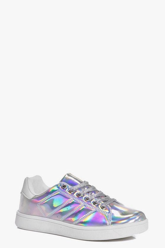Womens Silver Robyn Glitter Lace Up Trainer