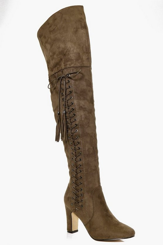 Laura Eyelet Detailed Thigh High Boot