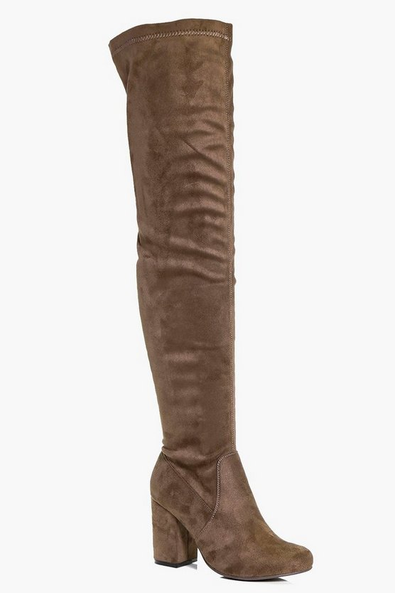 Womens Block Heel Thigh High Boots
