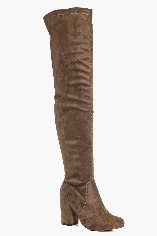 e67227a3c4d Block Heel Thigh High Boots | Boohoo