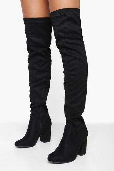 Womens Black Eloise Block Heel Thigh High Boots