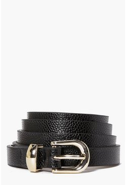 Womens Black Skinny Belt