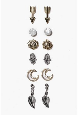 Womens Multi Arrow And Moon Mixed Stud Earring Set