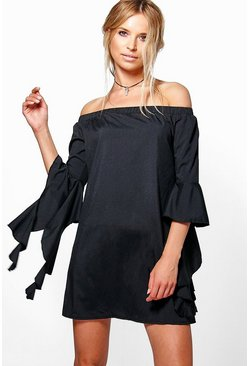 Womens Di Off The Shoulder Flute Sleeve Shift Dress