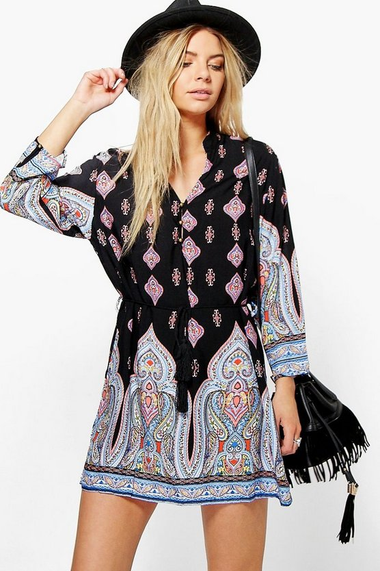Melody Paisley Tie Waist Shift Dress