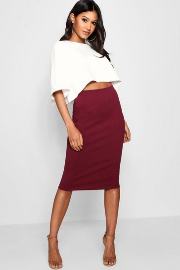 Womens Berry Boxy Crop And Midi Skirt Co-Ord