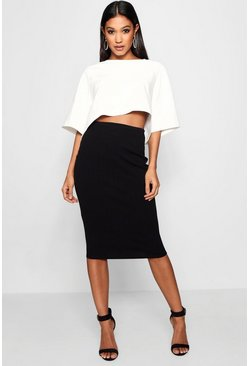 Womens Black Boxy Crop And Midi Skirt Co-Ord