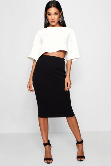 Black Boxy Crop And Midi Skirt Co-Ord