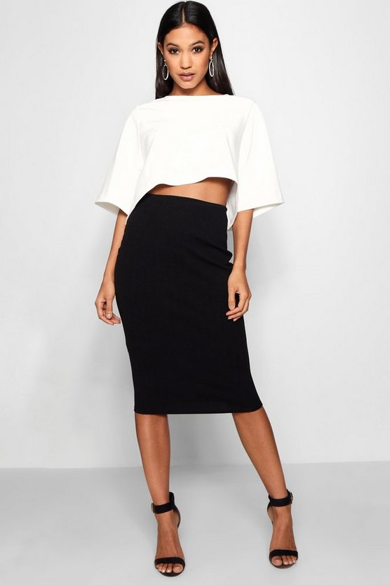 Womens Multi Boxy Crop And Midi Skirt Co-Ord