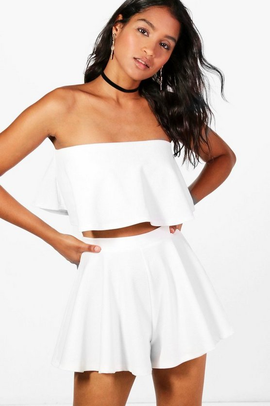 Womens Ivory Bandeau Crop And Shorts Co-Ord