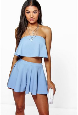Sky Bandeau Crop And Shorts Co-Ord Set