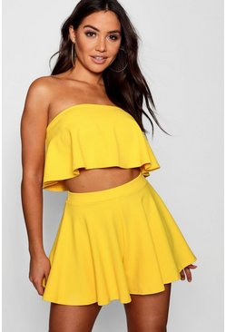 Ensemble top court bandeau et shorts, Jaune