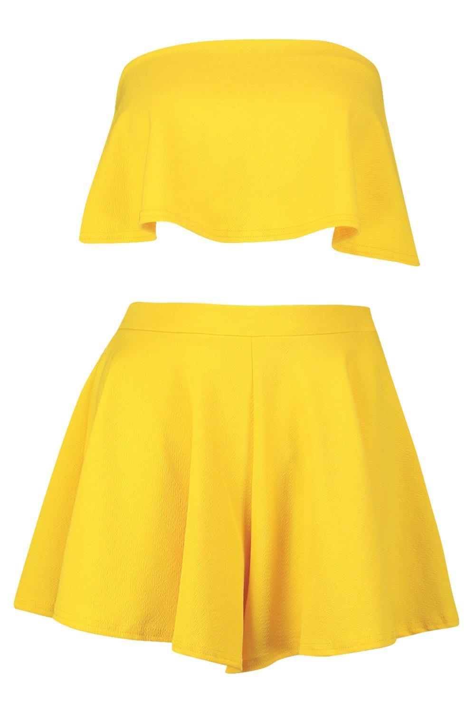de yellow Conjunto pantalones y de top palabra corto cortos 0nr80wxvq