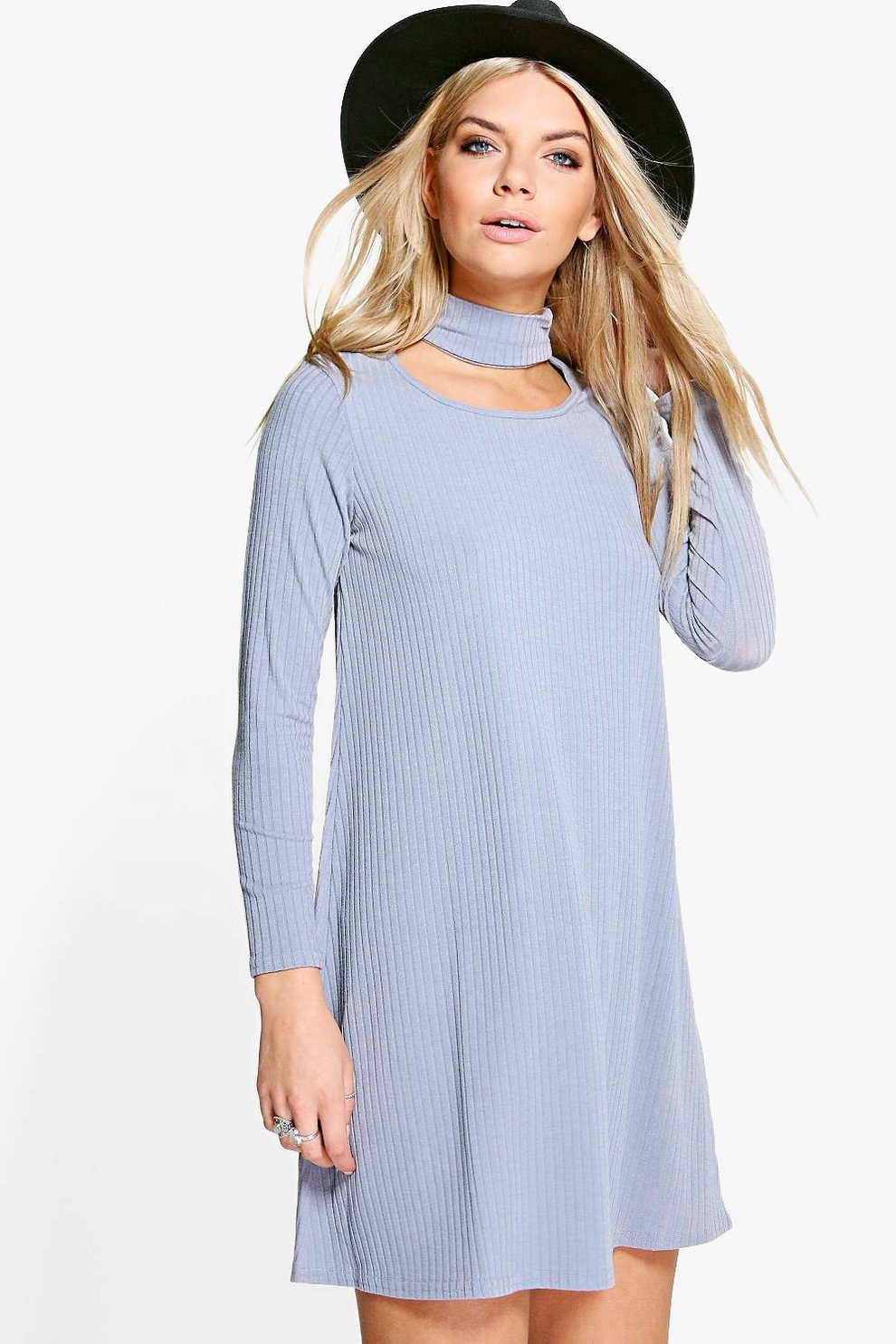 fa824066a67b Ella Choker Neck Detail Rib Knit Swing Dress