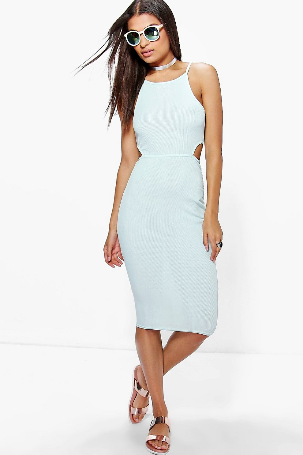 df7c96387f18 Karlie Ribbed High Neck Bodycon Midi Dress | Boohoo
