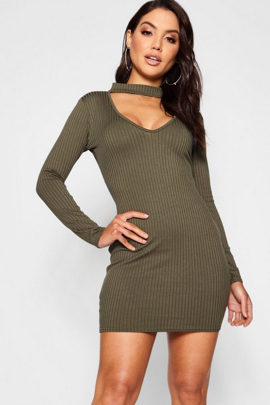 High Neck Plunge Ribbed Bodycon Dress