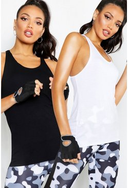 Black Fit Twist Back Vest 2 Pack