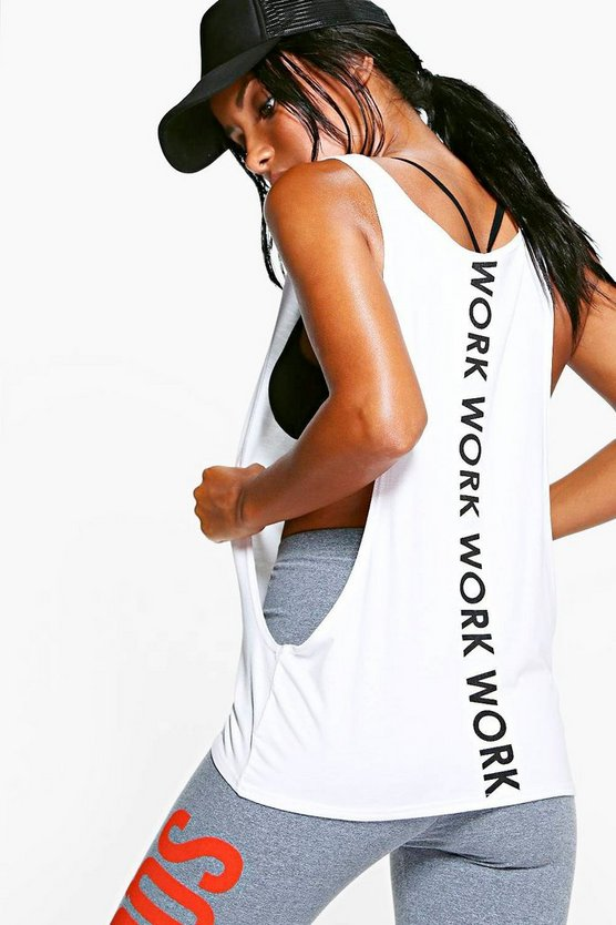 White Fit Work Slogan Running Vest