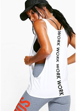 Womens White Fit Work Slogan Running Vest