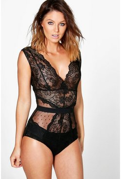 Womens Black Premium Lace Bodysuit