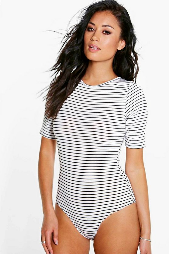 Womens White Striped Rib Bodysuit