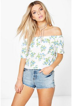 Womens Multi Millie Floral Woven Bardot Top