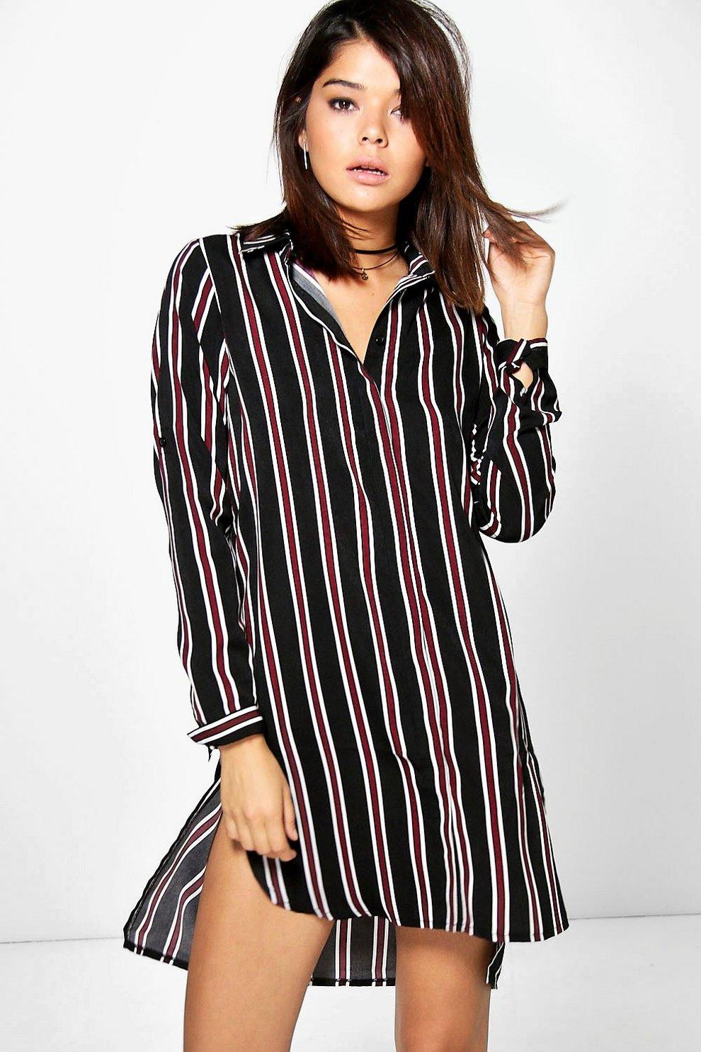 b9813ca88d Stacey Stripe Long Sleeve Shirt Dress