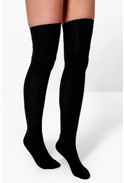 Womens Black Over The Knee Socks 3 Pack