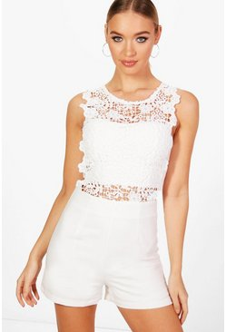 Womens White Crochet Romper