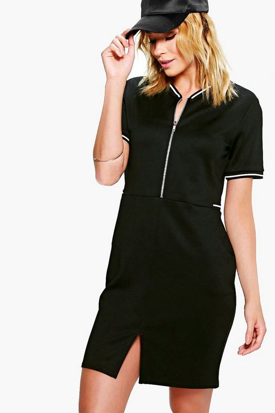 Womens Black Lucy Sports Trim Zip Front Bomber Dress