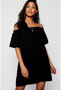 Womens Black Frill Off Shoulder Shift Dress