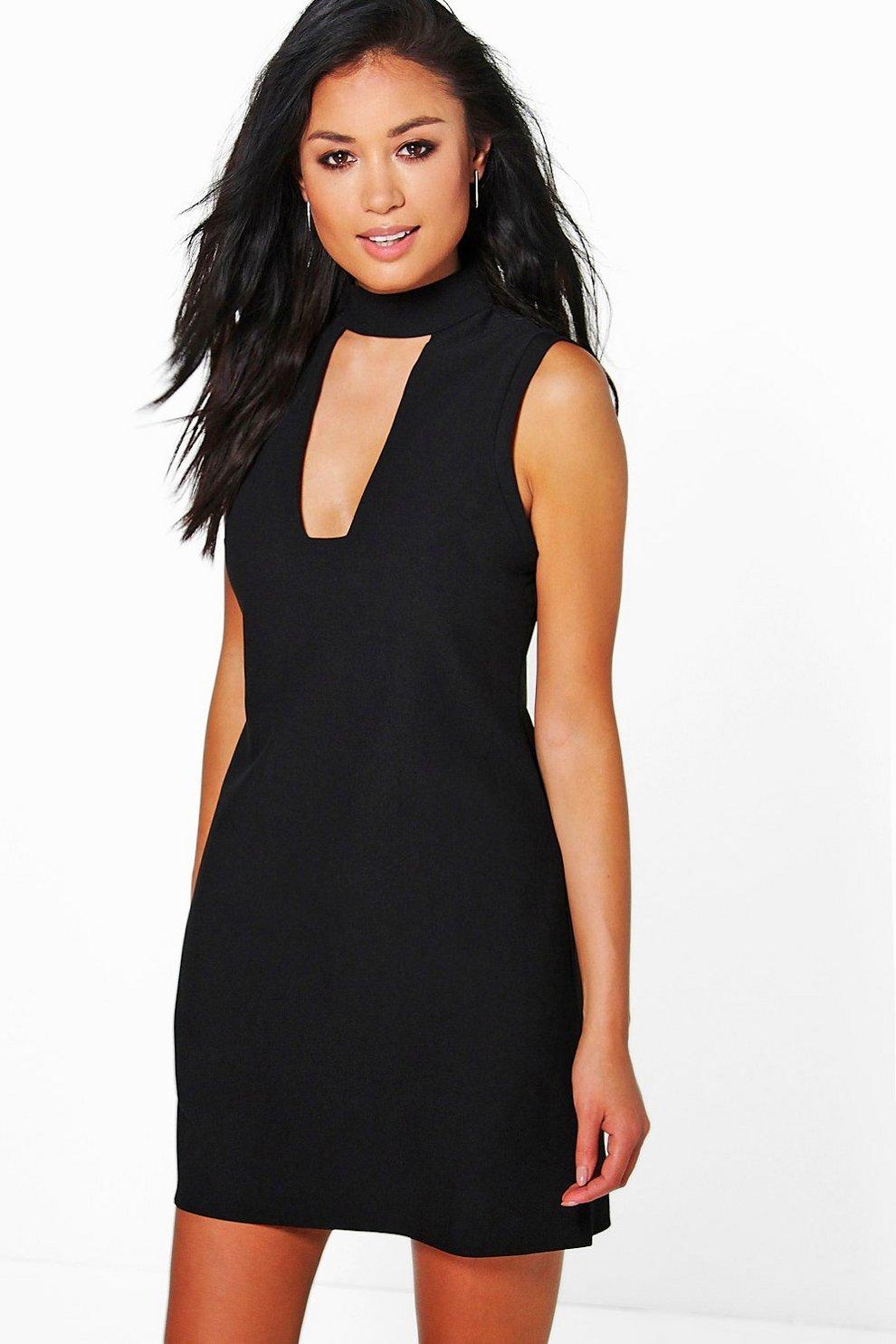 Sonya High Neck Cut Out Sleeveless Shirt Dress  be931e773