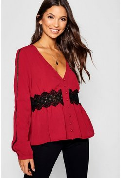 Womens Berry Crochet + Ladder Trim Button Through Blouse