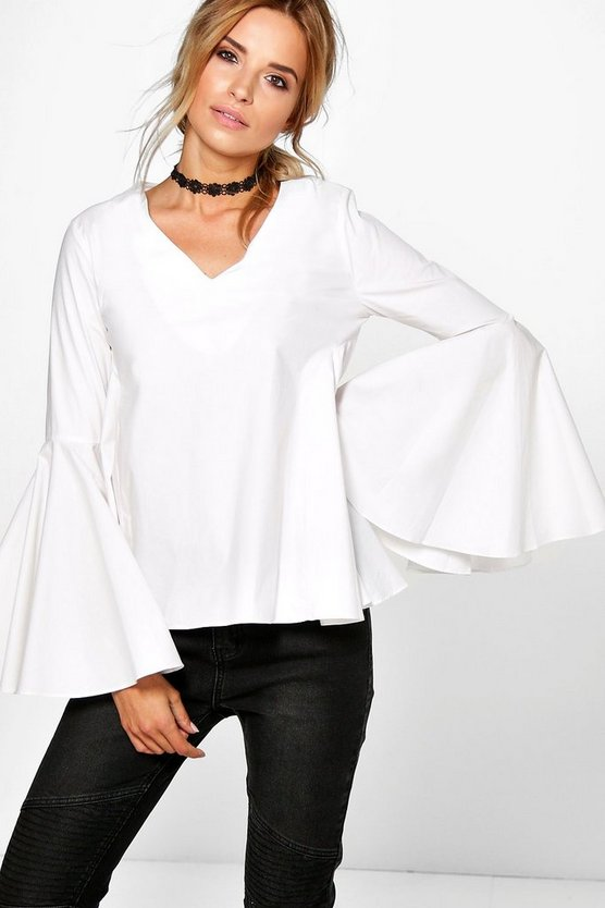Bonnie V Neck Cotton Volume Sleeve Blouse