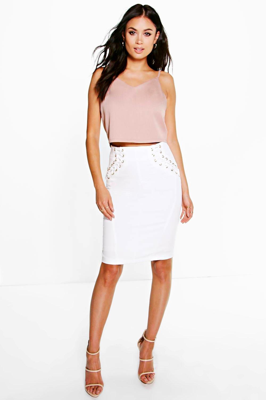 Boutique Ella Lace Up Skirt Boohoo